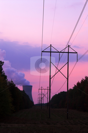 Nuclear Sunset stock photo, A functioning nuclear power plant at sunset. by Robert Byron