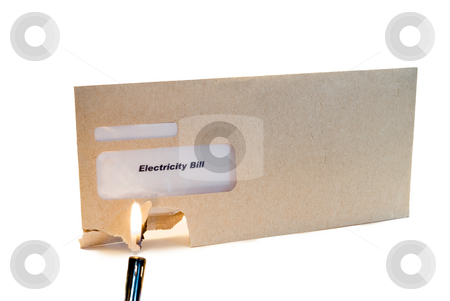 Burning Bills stock photo, A lighter starting an electricity bill on fire, isolated on a white background by Richard Nelson