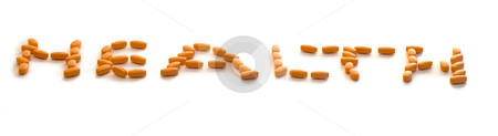 Health stock photo, A group of pills spelling the word health, isolated on a white background by Richard Nelson