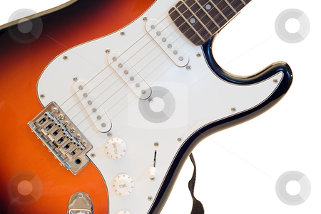 Isolated Electric Guitar stock photo, An electric guitar isolated against a white background by Richard Nelson