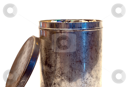 Tin Can stock photo, A large tin can full of buttons, isolated on a white background by Richard Nelson