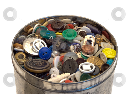 Tin Can With Buttons stock photo, A large tin can full of sewing buttons, isolated on a white background by Richard Nelson