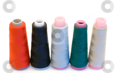Spools of Thread stock photo, Five large spools of thread isolated on a white background by Richard Nelson