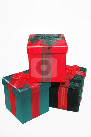 Christmas Present Gift Box stock photo, A set of colorful seasonal Christmas present gift boxes. by Robert Byron