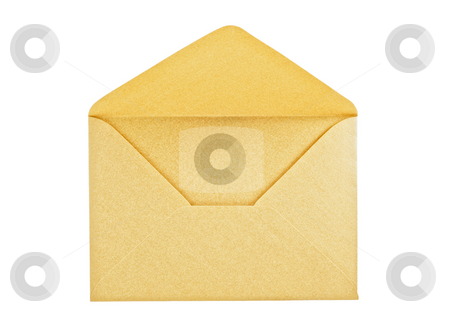 Open golden envelope  stock photo, Open golden envelope on white background, close up, studio shot. by Pablo Caridad