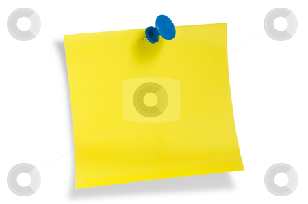 Yellow remainder note stock photo, Yellow remainder note on white background, with red pin. by Pablo Caridad