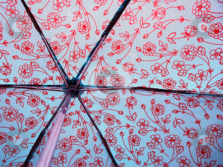 Behind a Wet Umbrella stock photo, A photograph of the inside of an opened umbrella covered in raindrops by Philippa Willitts