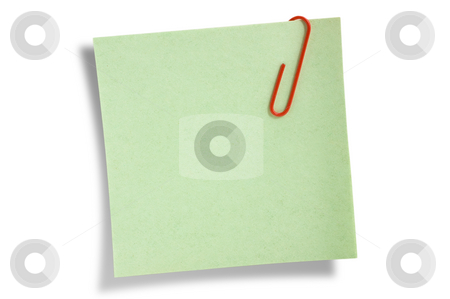 Green remainder note isolated stock photo, Green remainder note isolated on white background, with red clip. by Pablo Caridad
