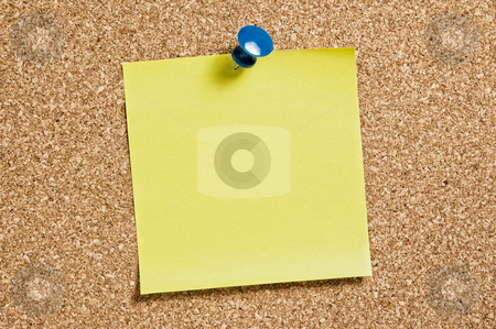 Yellow remainder note stock photo, Yellow remainder note on cork background, with blue pin. by Pablo Caridad