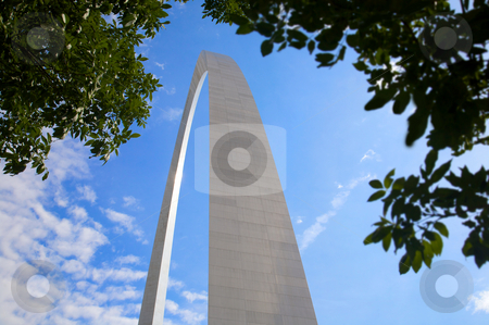 Abstract Arch from below stock photo, An interesting view of the St. Louis Arch - Gateway to the West - the Jefferson National Expansion Memorial (U.S. National Park Service) by Mitch Aunger