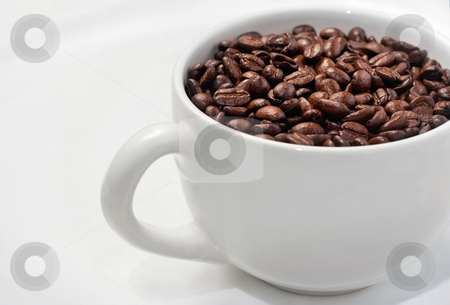 Simple White Coffee Cup Filled With Whole Beans stock photo, Roasted coffee beans in white mug on white saucer by Mark S