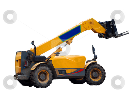 Fork Lift Truck Isolated on White stock photo, A photograph of a fork-lift truck isolated on a white background with copy space by Philippa Willitts
