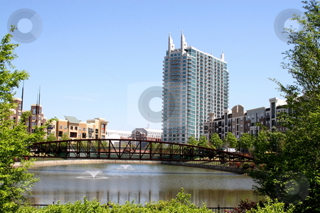Atlantic Station stock photo, Atlantic station bridge and pond condo and apartment living by Jack Schiffer