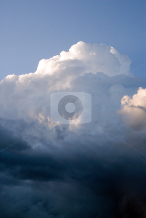 Cloudscape stock photo, Large fluffy cumulus clouds with sunlight on top by Richard Nelson