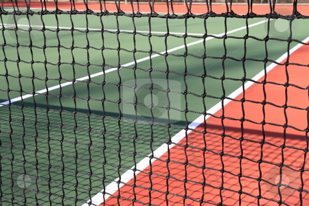 Tennis stock photo, Tennis court colors with net by Jack Schiffer