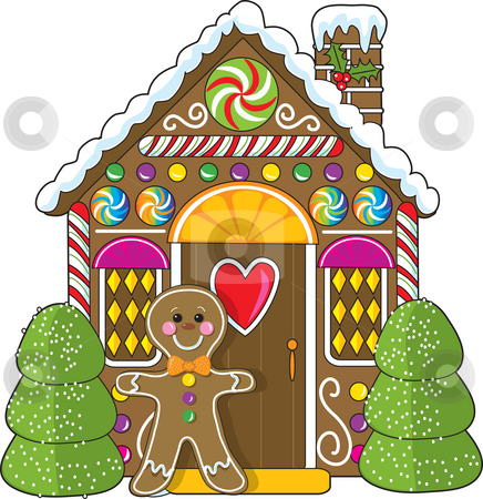 Gingerbread House and Man stock photo, A cute little decorated gingerbread house with a gingerbread man standing at the doorway.  Candies and gumdrops are part of the decorations. by Maria Bell
