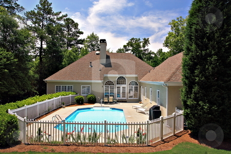 Real Estate stock photo, Back yard with enclosed  pool by Jack Schiffer