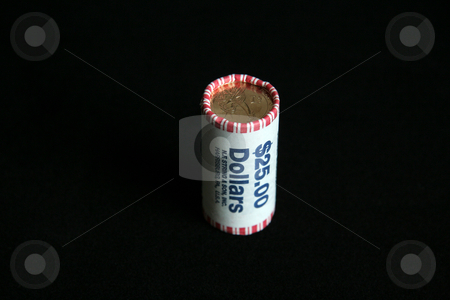 Dollar Roll stock photo, A 25 dollar roll of US gold dollar coins by Kevin Tietz