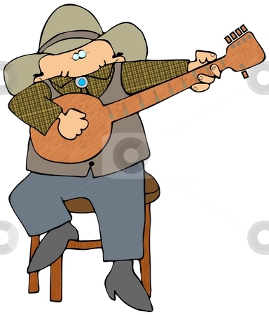 Banjo Picker stock photo, This illustration depicts a man dressed in western wear and playing a banjo. by Dennis Cox