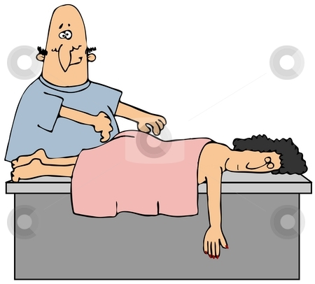 Massage stock photo, This illustration depicts a massage therapist about to give a woman a rubdown. by Dennis Cox