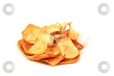 Chips stock photo, Home made potatoe chips on napkin by Jack Schiffer