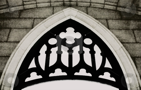 Old Cathedral Church Window stock photo, Cathedral window desaturated with Halftone effect giving rough, dotted newsprint feel. Slight sepia tone. by Mark S