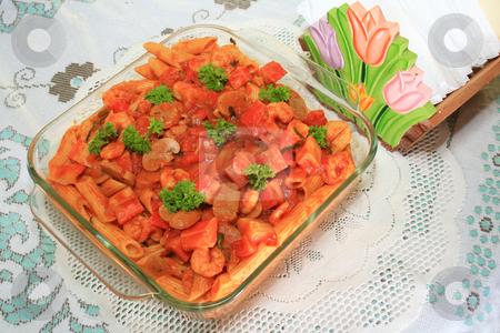 Seafood baked macaroni stock photo, Sumptuous seafood baked macaroni served in a glass dish by Jonas Marcos San Luis