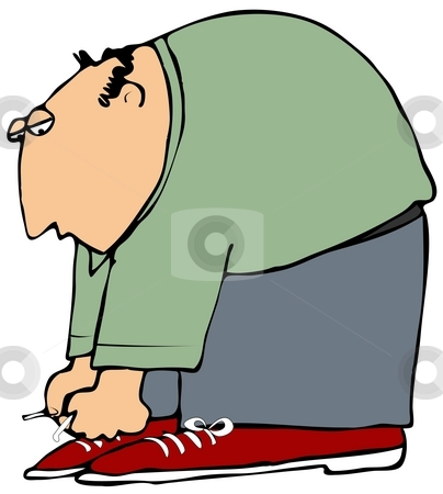 Man Tieing Shoes stock photo, This illustration depicts a man bent over tieing his shoes. by Dennis Cox