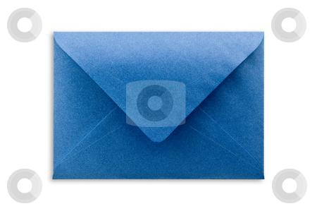 Blue envelope isolated, path provided. stock photo, Blue envelope on white background, close up, studio shot. by Pablo Caridad