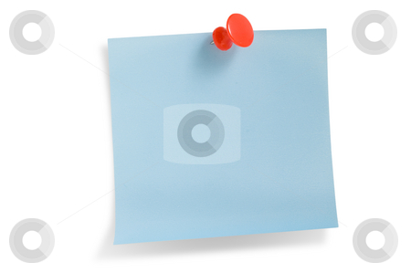 Blue remainder note isolated  stock photo, Blue remainder note on white background, with red pin. by Pablo Caridad