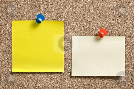Yellow remainder notes on cork. stock photo, Yellow remainder notes on cork board, with tacks. by Pablo Caridad