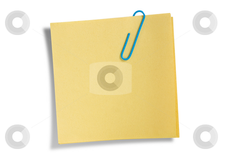 Yellow remainder note isolated  stock photo, Yellow remainder note isolated on white background, with blue clip. by Pablo Caridad