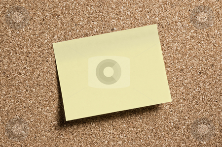 Post it  stock photo, Post it note on cork pin board. by Pablo Caridad