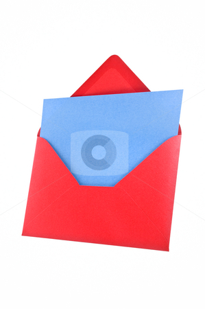 Red envelope with sheet, white background. Path provided. stock photo, Open red envelope with a blue sheet of paper inside. Isolated, white background, path provided. by Pablo Caridad