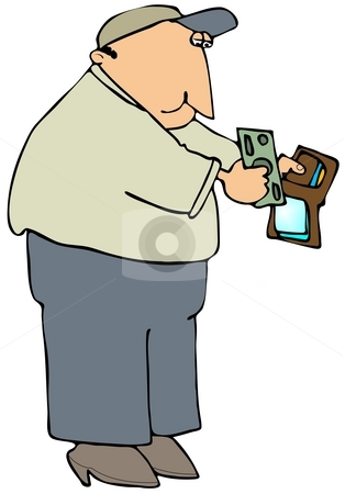 Paying With Cash stock photo, This illustration depicts a man getting currency from his wallet. by Dennis Cox