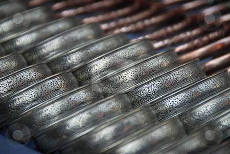 Nepal Bracelet stock photo, Close-up abstract photo of bracelets in a Nepalize marketplace by A Cotton Photo