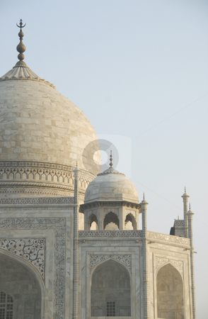Taj Mahal Side Close-up stock photo, Close up view of the Taj Mahal mausoleum in Agra, India showing the primary dome as well as a corner dome. by A Cotton Photo