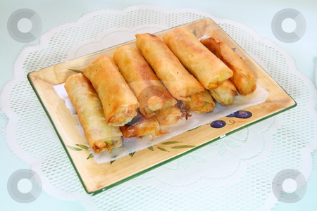 Fried springrolls stock photo, Deep fried springrolls served in a rectangular dish by Jonas Marcos San Luis