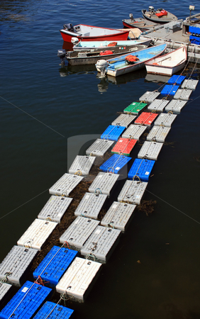 Floating Lobster Crates stock photo, Colorful lobster crates, floating in the harbor in Maine by Tom and Beth Pulsipher
