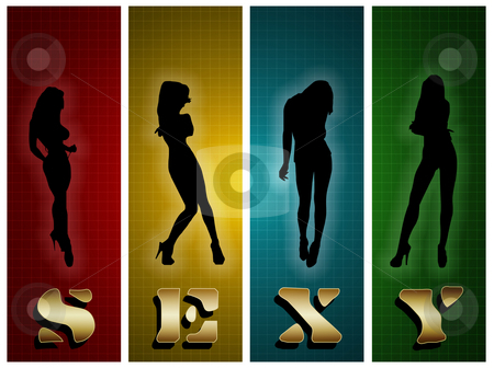 Sexy Silhouette stock photo, Illustration of women silhouettes and word sexy by Vlad Podkhlebnik