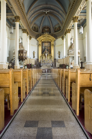Church stock photo, View of a central alley of a church by Vlad Podkhlebnik