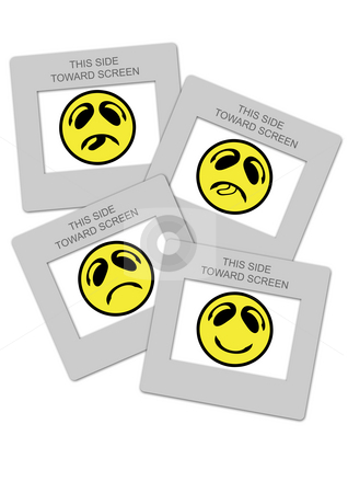 Various smiley faces closed into slide frames