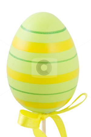 Colourful Easter Egg stock photo, A green and yellow easter egg isolated on the white background by Petr Koudelka