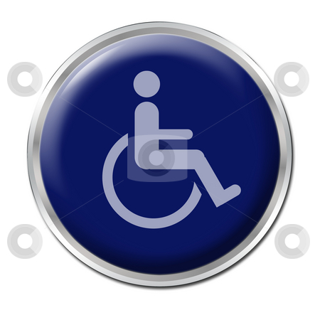 Button for Disabled stock photo, Blue round button with the symbol for disabled by Petr Koudelka