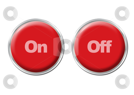 Buttons On Off stock photo, Two red round buttons with the symbols On and Off by Petr Koudelka