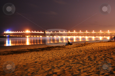 Night Walks stock photo, Night time shot of the Imperial Beach Pier by John Adair
