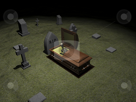 Skeleton in casket  stock photo, Skeleton in casket in grave yard. 3D image for halloween. by John Teeter