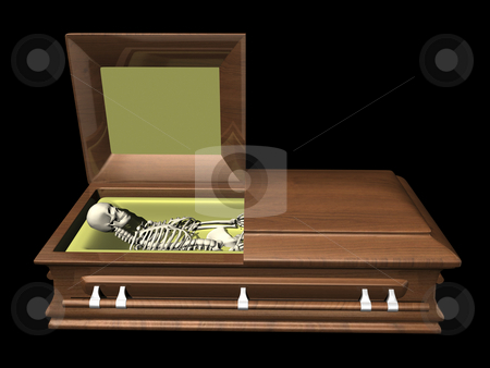 Skeleton in coffin - side view on black stock photo, Skeleton in coffin - side view on black background by John Teeter