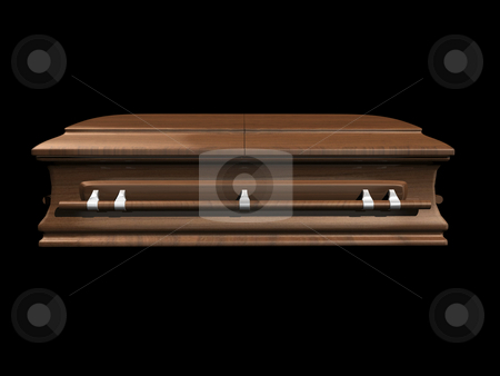 Coffin side view on black stock photo, Coffin side view on black background - 3D. by John Teeter