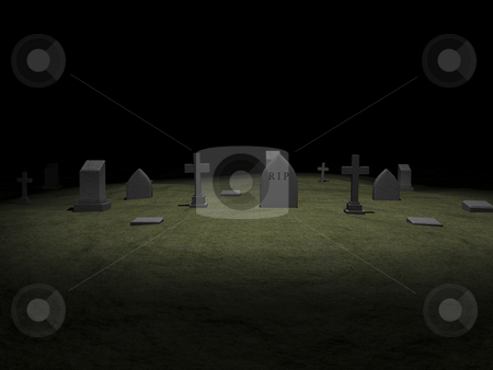 Grave Yard stock photo, 3D grave yard with tomb stones. by John Teeter